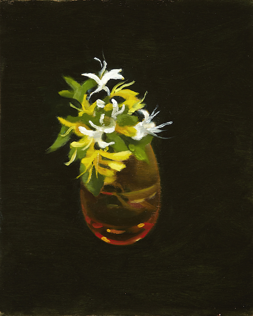 P. Metcalf Glass and Honeysuckle 2013 30x20cm oil:timber Framed