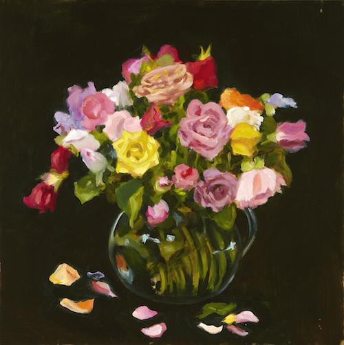 P. Metcalf Glass and Roses 2013 30x30cm oil:timber Framed copy