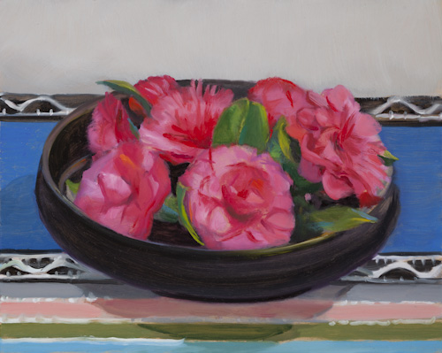 Pink-Camellias,-Black-Bowl